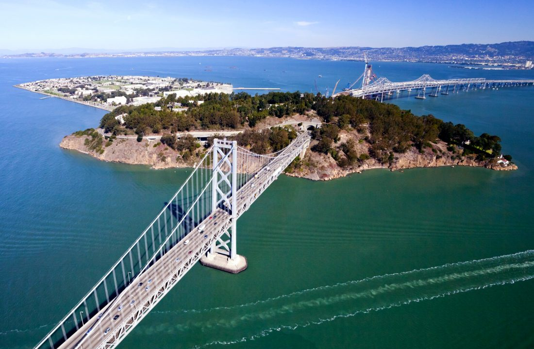 San Francisco's Treasure Island situated in the middle of the bay between Oakland and San Francico.